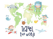 Set of cartoon elements on the world map. Time of adventure. Holiday card design.