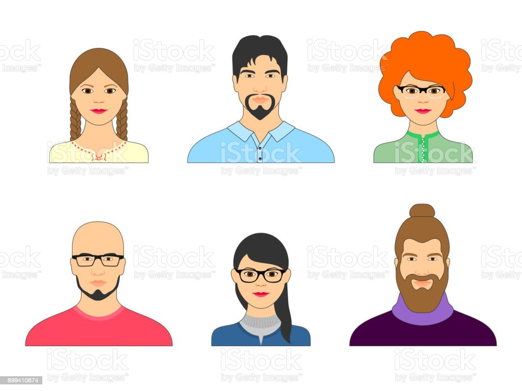 Set Of Cartoon Faces Men And Women For Avatar Royalty Free