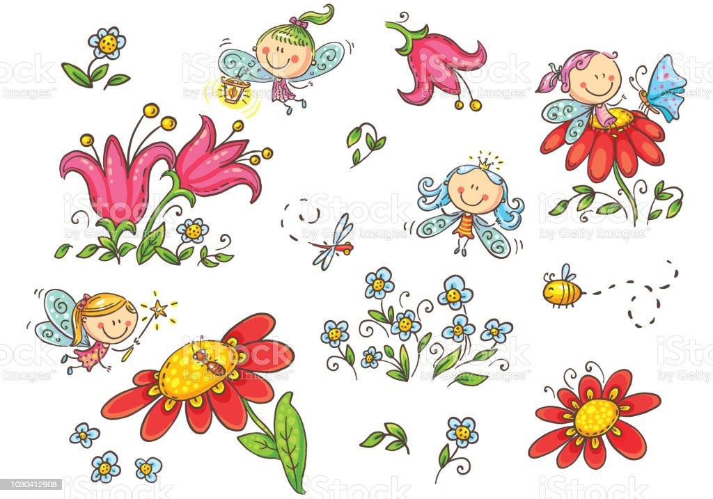 Cute Little Fairy Tale Girls In Postcard Wreath With Cream Pink Rose Flowers  Lizenzfrei Nutzbare Vektorgrafiken, Clip Arts, Illustrationen. Image  147870806.