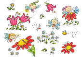 Set of cartoon fairies,insects, flowers and elements, vector graphics isolated on white background