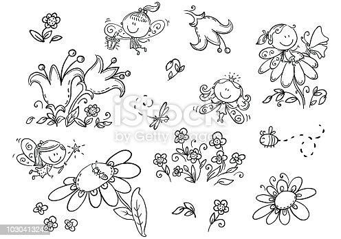 Set of cartoon fairies,insects, flowers and elements, vector graphics, black and white