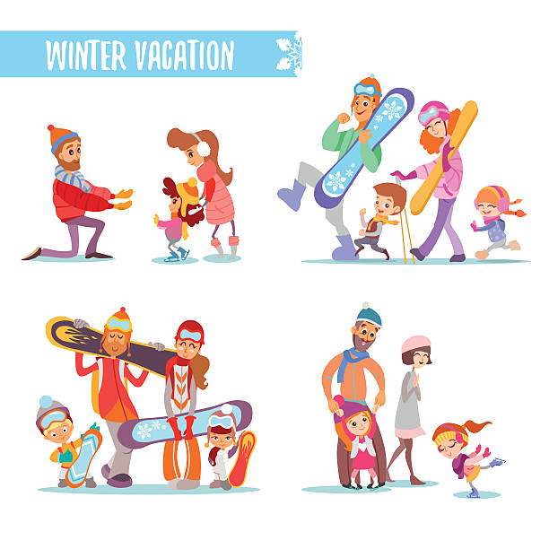Set Of Cartoon Families With Various Winter Activities Vector Art Illustration