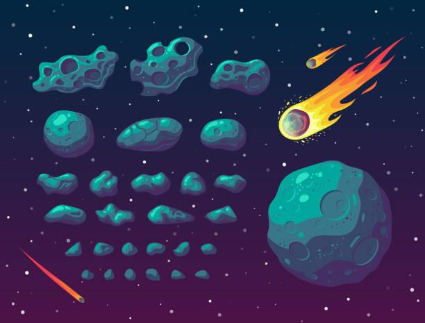 set of cartoon fantasy asteroids and meteoroids. - космос и астрономия stock illustrations