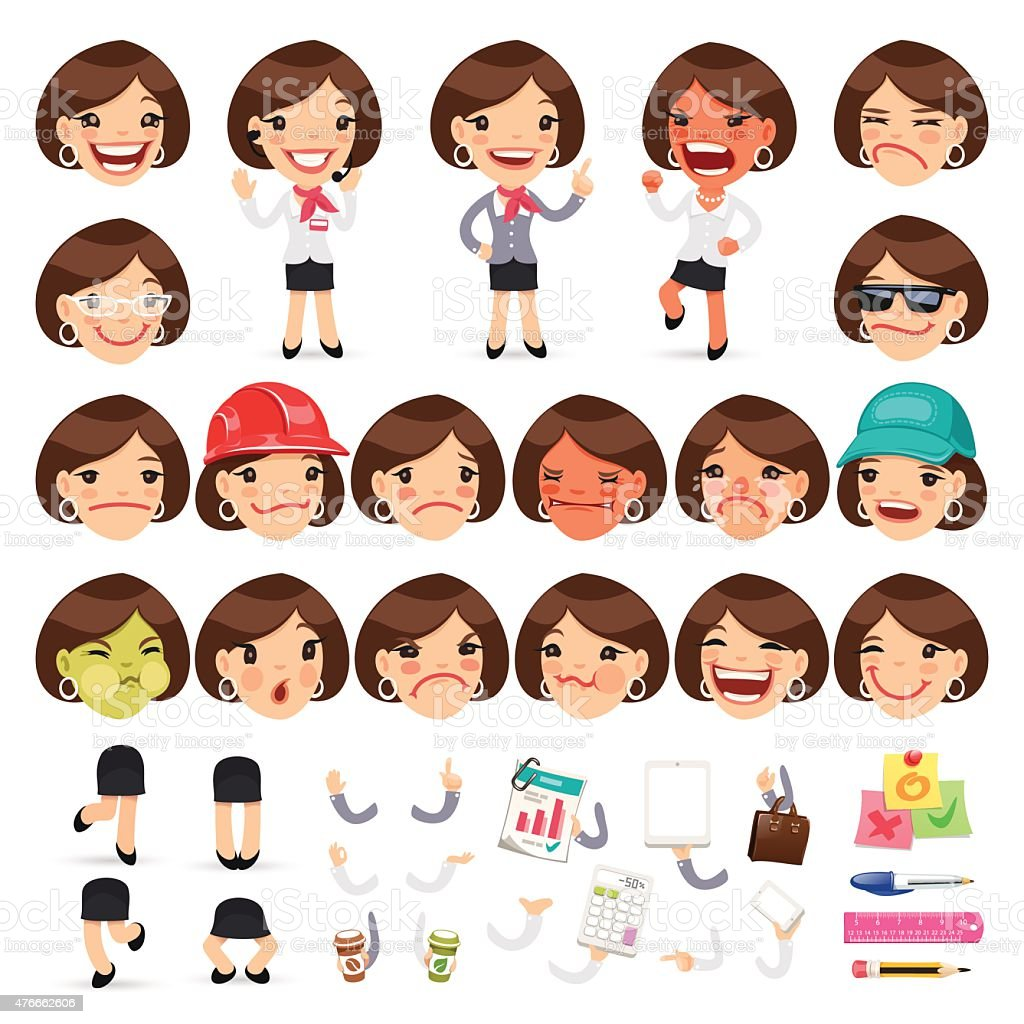 Set of Cartoon Female Manager Character vector art illustration