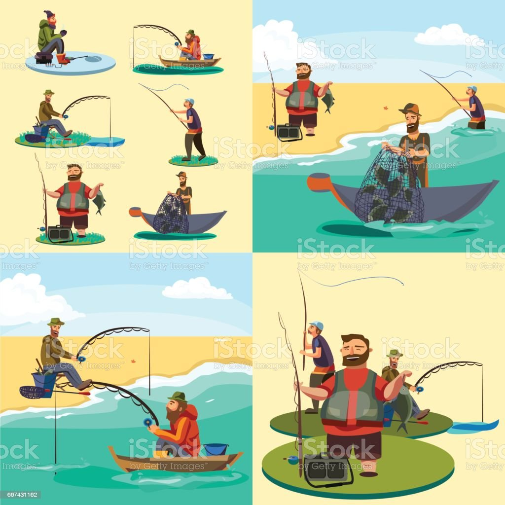 Set of cartoon fisherman catches fish sitting boat fisher threw fishing rod into water, happy fishman holds catch and spin, man pulls net out of the water, fishing on ice icon vector illustration vector art illustration