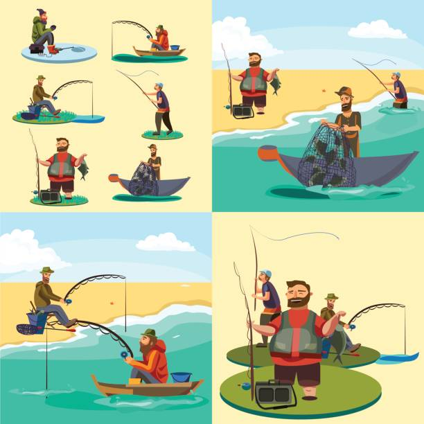 ilustrações de stock, clip art, desenhos animados e ícones de set of cartoon fisherman catches fish sitting boat fisher threw fishing rod into water, happy fishman holds catch and spin, man pulls net out of the water, fishing on ice icon vector illustration - fishman