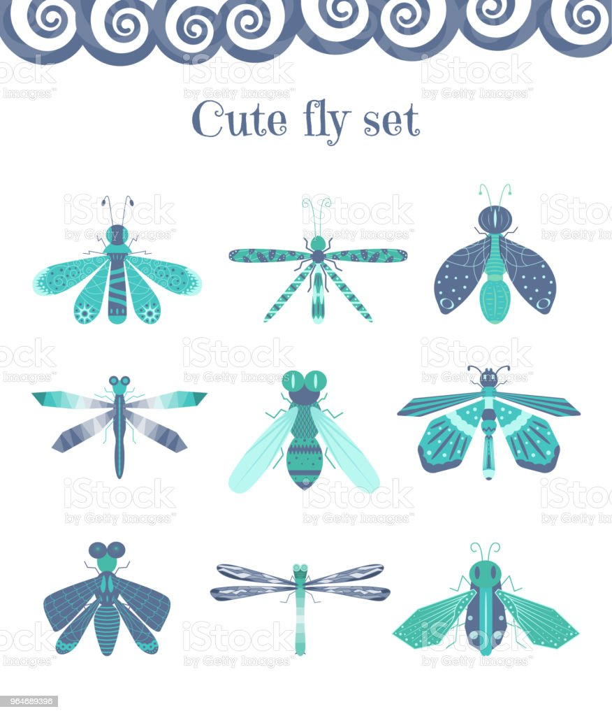 Set of cartoon flies and other insects royalty-free set of cartoon flies and other insects stock vector art & more images of bee