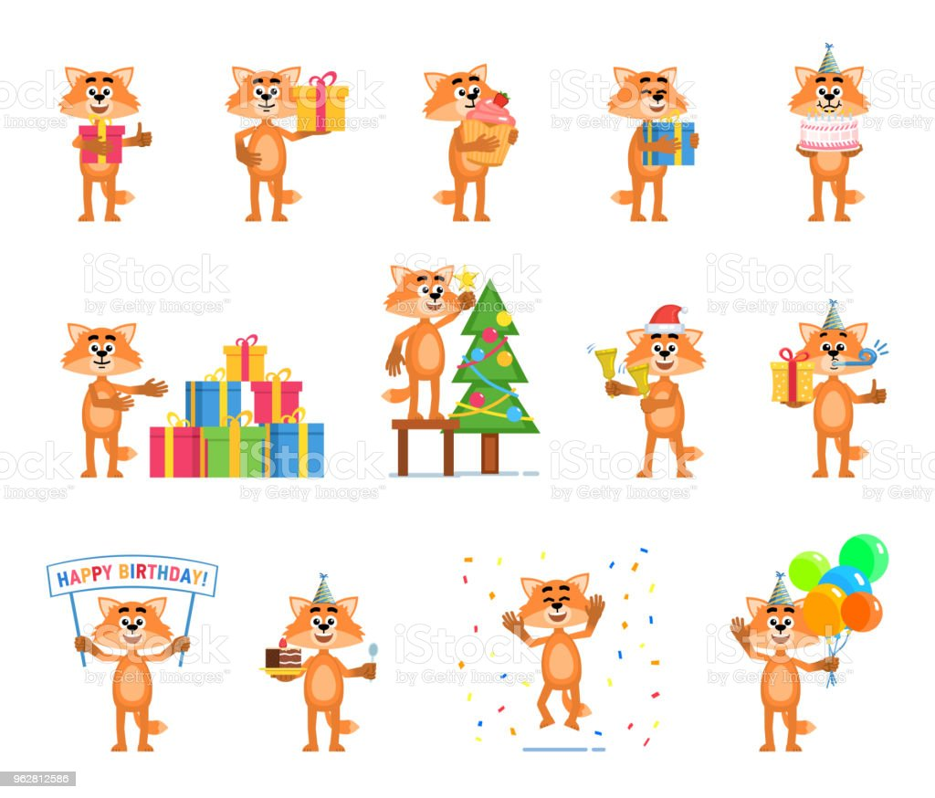 Set of cartoon fox characters showing diverse actions, emotions - arte vettoriale royalty-free di Albero
