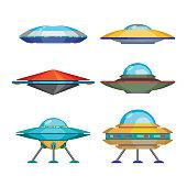 Set of cartoon funny aliens spaceships, vector illustration