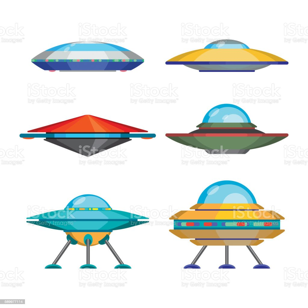Set of cartoon funny aliens spaceships, vector illustration vector art illustration