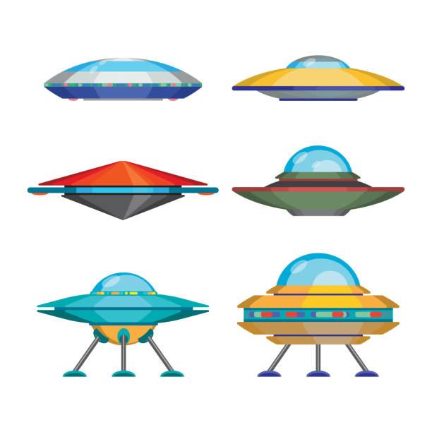 stockillustraties, clipart, cartoons en iconen met set of cartoon funny aliens spaceships, vector illustration - ufo