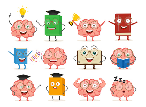 Set of cartoon funny characters books and brain. Smiling faces and emotion. Vector illustration set icons isolated on white background. EPS 10.