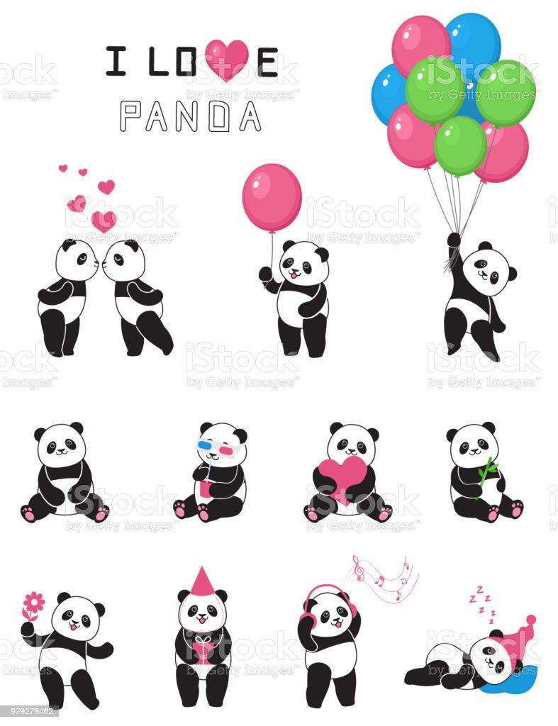 Ensemble De Pandas Drôle De Dessin Animé Vecteurs Libres De