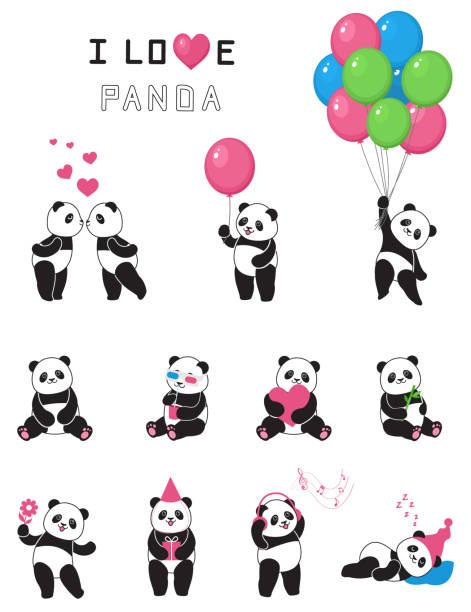 reihe von lustigen cartoon pandas. - herzkissen stock-grafiken, -clipart, -cartoons und -symbole