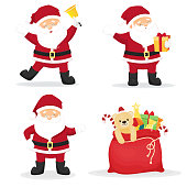 Set of cartoon funny santa clauses