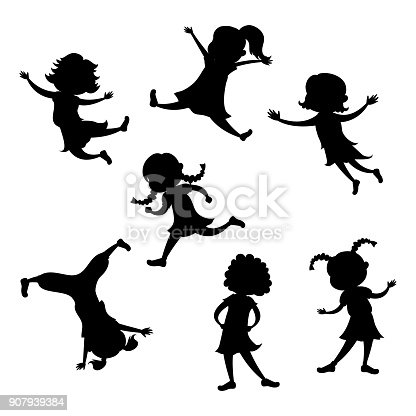 Set of cartoon girl silhouette, different action poses, isolated on white background, vector and illustration