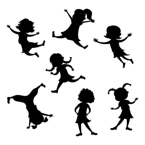 Set of cartoon girl silhouette, different action poses Set of cartoon girl silhouette, different action poses, isolated on white background, vector and illustration baby girls stock illustrations