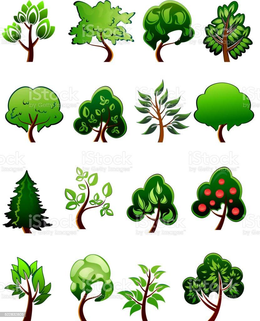 Immagini Di Piante E Alberi set di fumetto verde piante e alberi - immagini vettoriali
