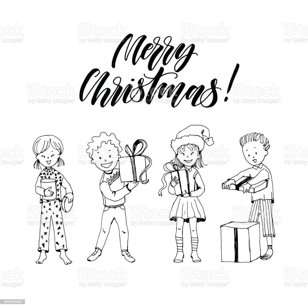 Satz Von Cartoon Handgezeichnete Kinder öffnet Das Geschenk Jungen ...