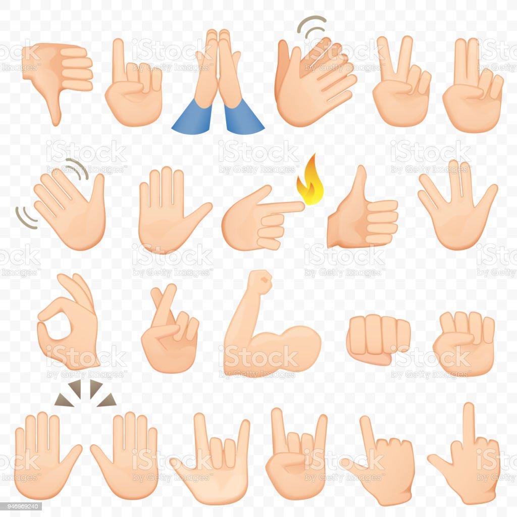 Set cartoon handen pictogrammen en symbolen. De pictogrammen van de hand van de Emoji. Verschillende handen, gebaren, signalen en tekens, vector illustratie-collectie. - Royalty-free Advies vectorkunst