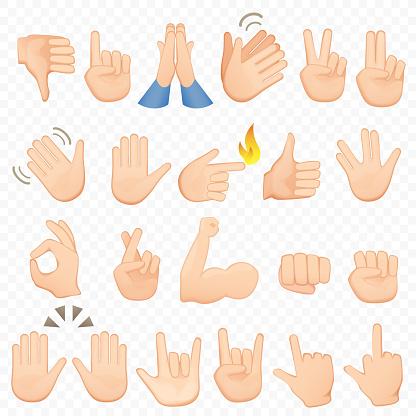 Set Cartoon Handen Pictogrammen En Symbolen De Pictogrammen Van De Hand Van De Emoji Verschillende Handen Gebaren Signalen En Tekens Vector Illustratiecollectie Stockvectorkunst en meer beelden van Advies
