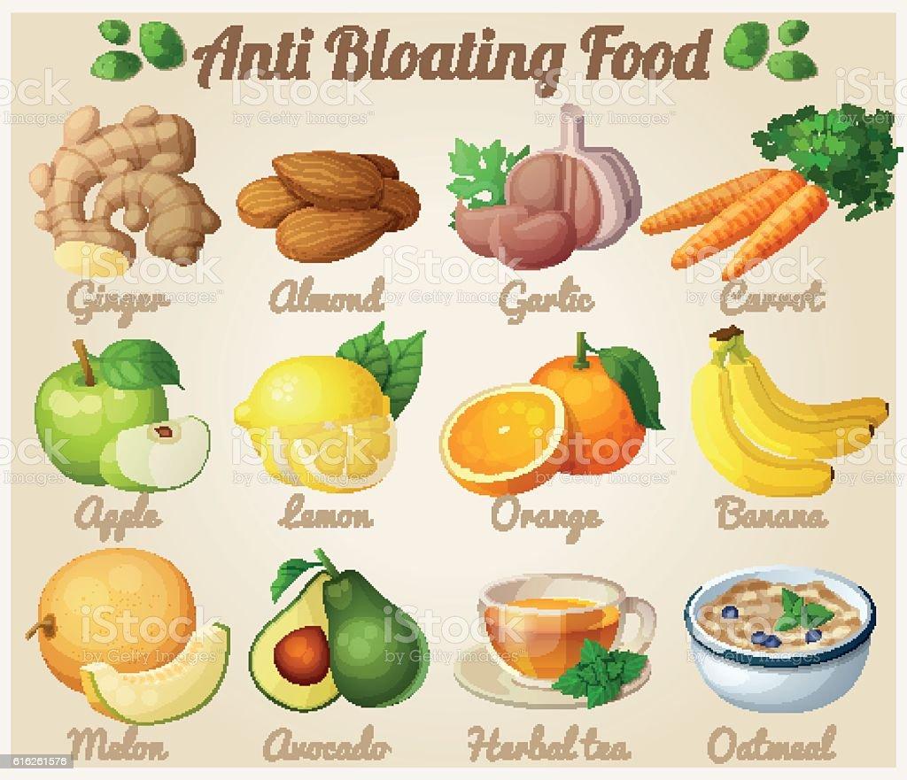 Set of cartoon icons. Anti bloating food vector art illustration
