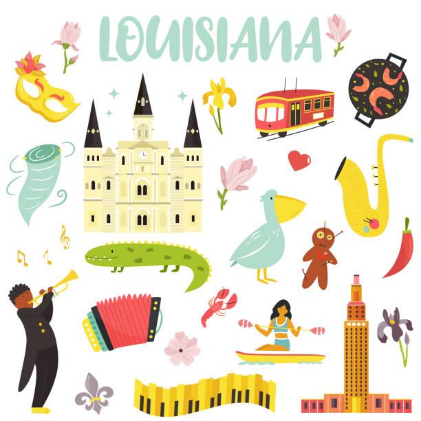 stockillustraties, clipart, cartoons en iconen met set van cartoon iconen, elementen van louisiana staat. beroemde plaatsen, mensen, dieren bloemen monumenten - bloemen storm