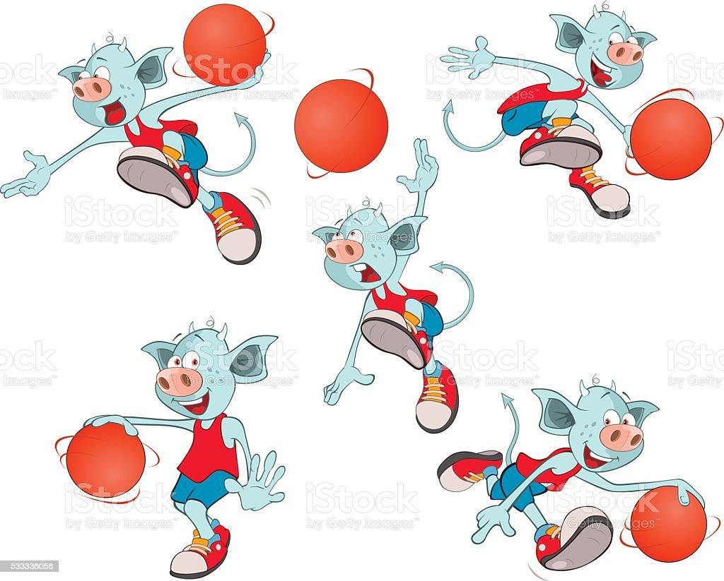 Set of  Cartoon Illustration  Basketball Team Cartoon Character vector art illustration