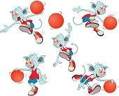 Set of  Cartoon Illustration  Basketball Team Cartoon Character