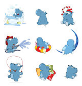 Set of various blue small cheerful hippopotamuses