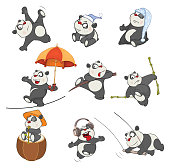 set of various thick small cheerful it is black white pandas