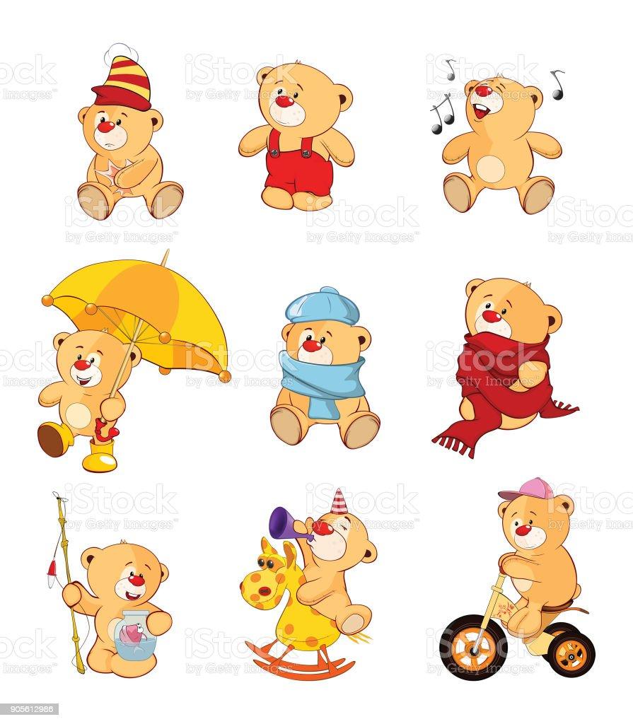 Set of Cartoon Illustration Stuffed Bears for you Design vector art illustration