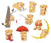 set of various little yellow bears