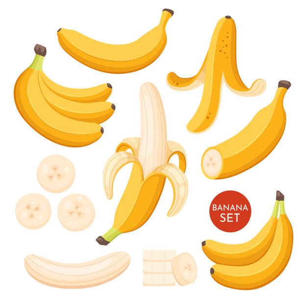 illustrazioni stock, clip art, cartoni animati e icone di tendenza di set of cartoon illustration yellow bananas. single, banana peel and bunches of fresh banana fruits. - banana