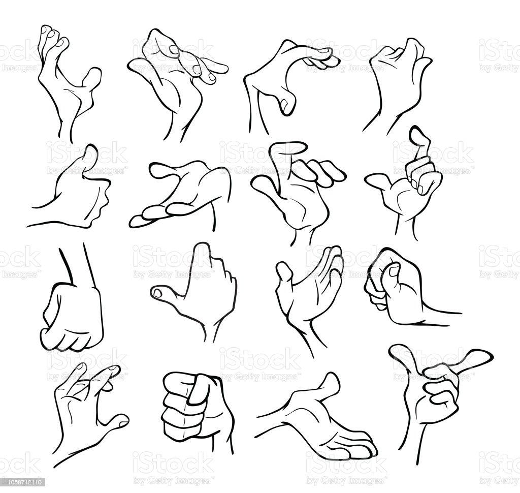 Ilustración De Conjunto De Manos De Ilustraciones De Dibujos