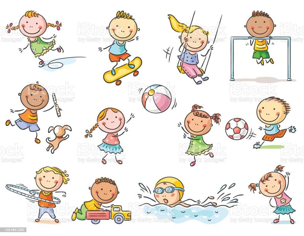 Ilustracion De Conjunto De Dibujos Animados Los Ninos Juegos