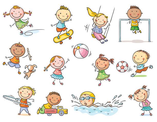 açık hava etkinlikleri, spor ve oyunlar çizgi film dizi çocuklar - kids drawing stock illustrations