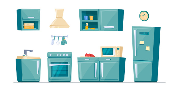 Set of cartoon kitchen furniture