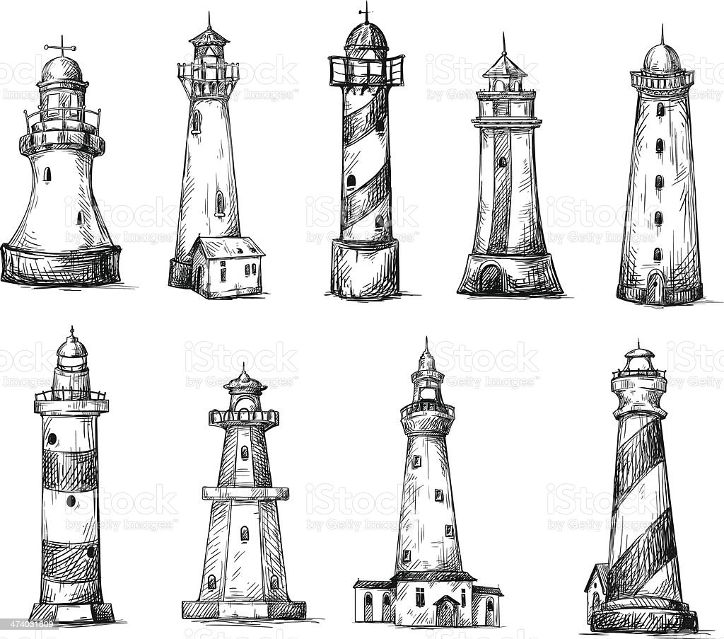 set of cartoon lighthouses. icons. pencil drawing style. vector art illustration