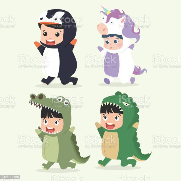 Set of cartoon little kid characters in animals costumes vector id962112830?b=1&k=6&m=962112830&s=612x612&h=8wc96ps80rnz3rouzjhqfl8gffssm9urcvp88fywqv0=