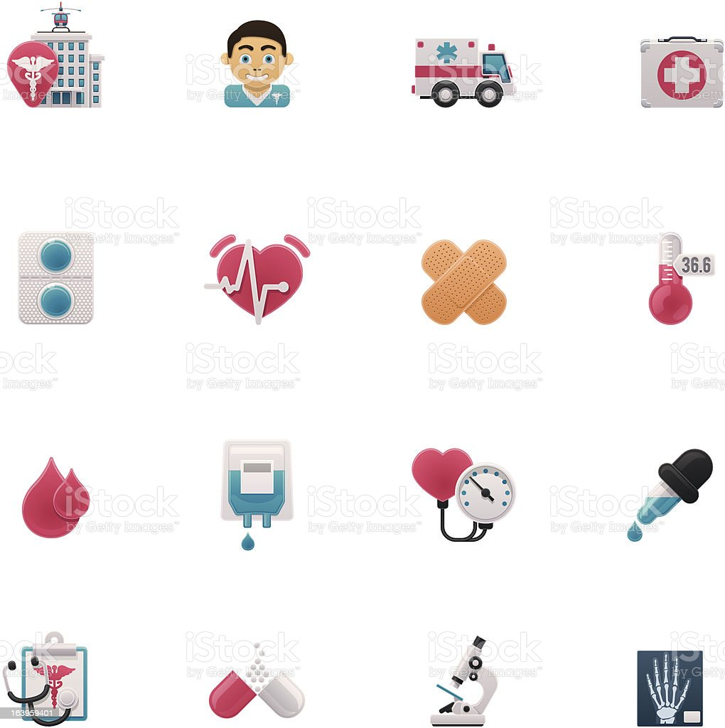 A set of cartoon medical icons royalty-free stock vector art