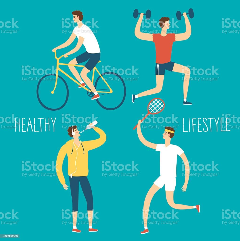 Set of cartoon men doing sport exercises vector art illustration