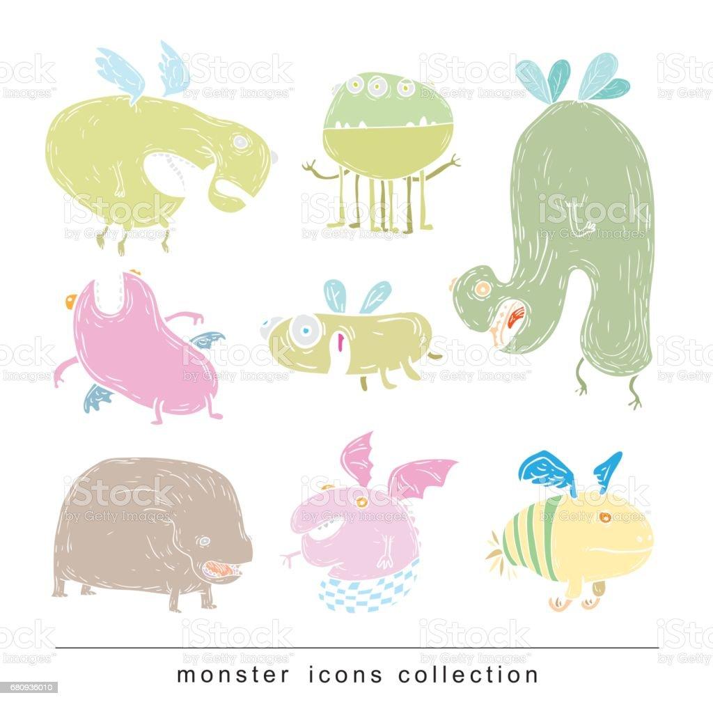 set of cartoon monsters. vector illustration royalty-free set of cartoon monsters vector illustration stock vector art & more images of alien