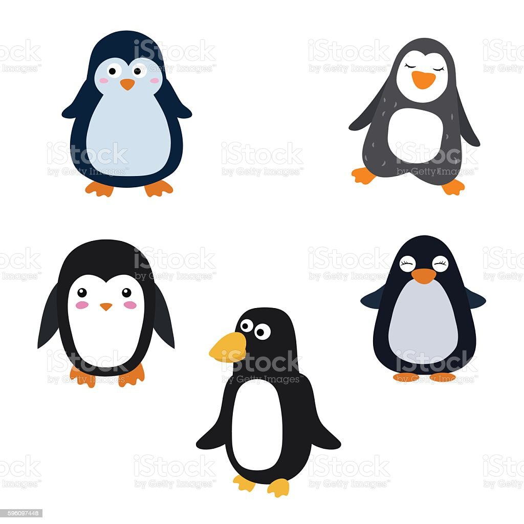 Set of cartoon penguins royalty-free set of cartoon penguins stock vector art & more images of animal