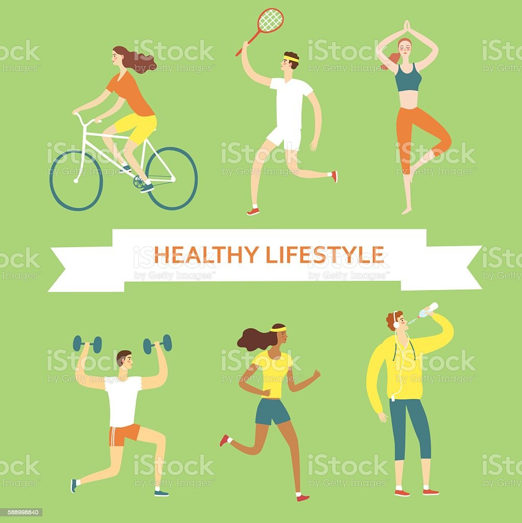 Set of cartoon people doing sport exercises vector art illustration