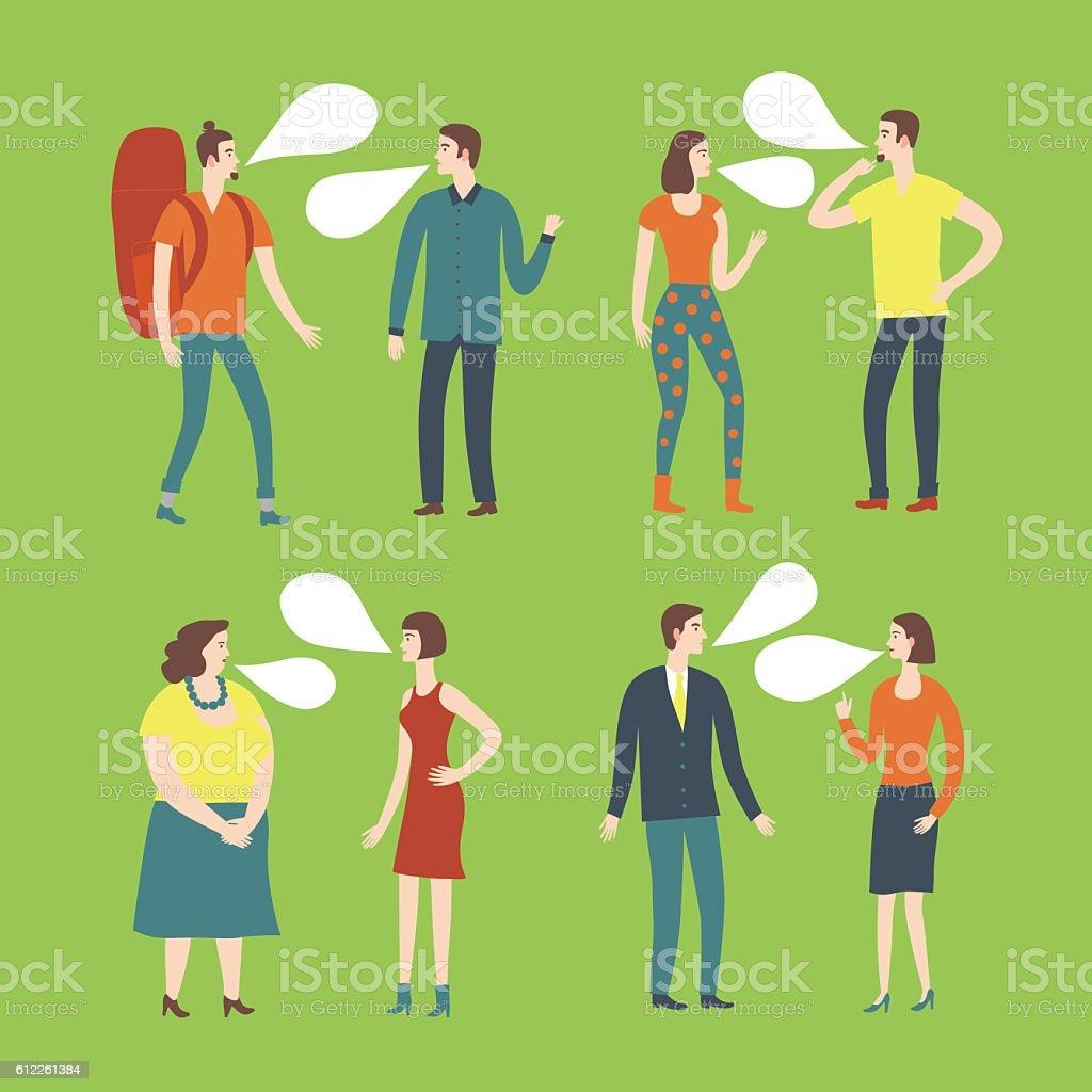 Set of cartoon people in various lifestyles vector art illustration