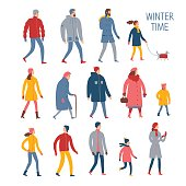 Set of cartoon people in winter clothes. Including various lifestyles and ages like businessman, man, woman, teenagers, children, seniors, couple. Characters illustrations for your design.