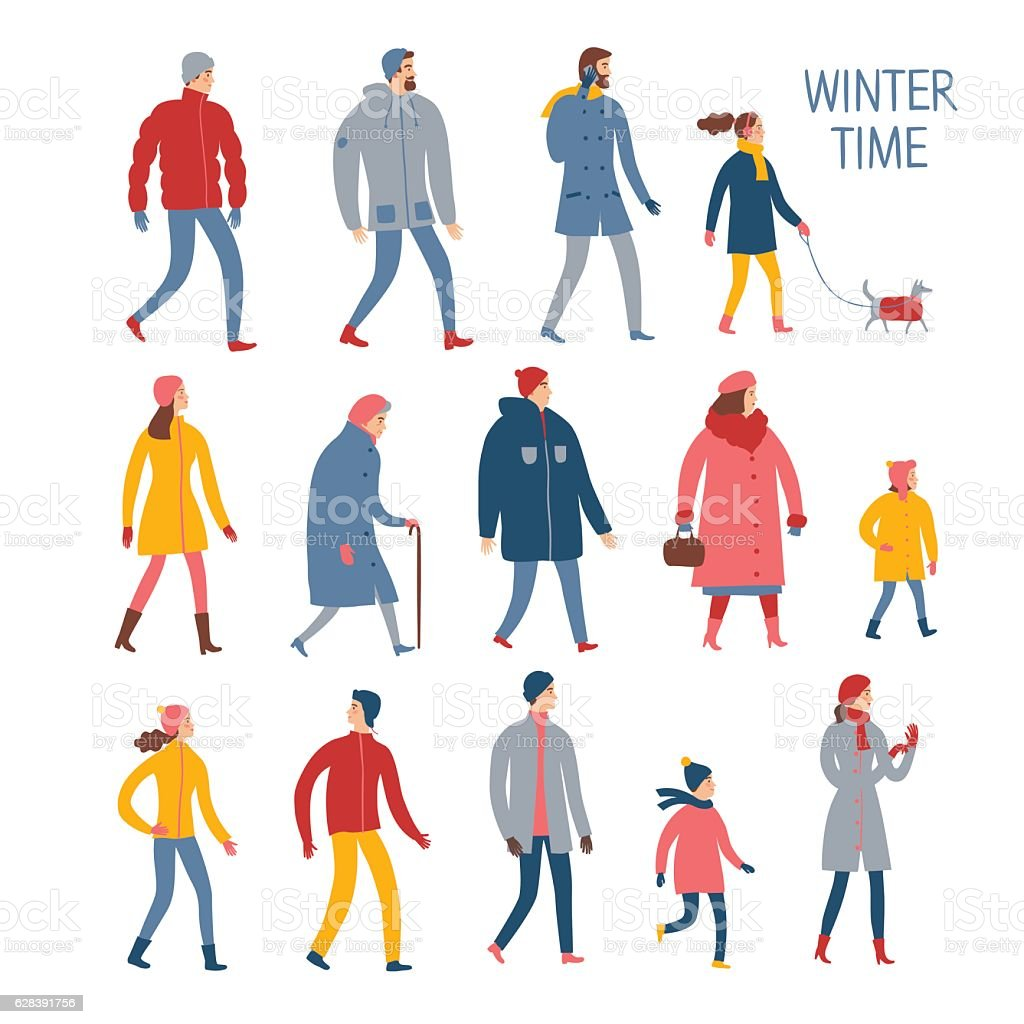 Set of cartoon people in winter clothes. ベクターアートイラスト