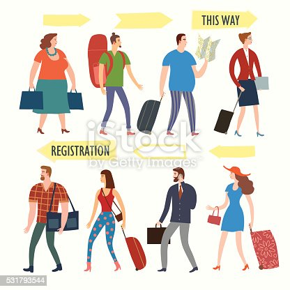 istock Set of cartoon people with bags and suitcases in queue 531793544
