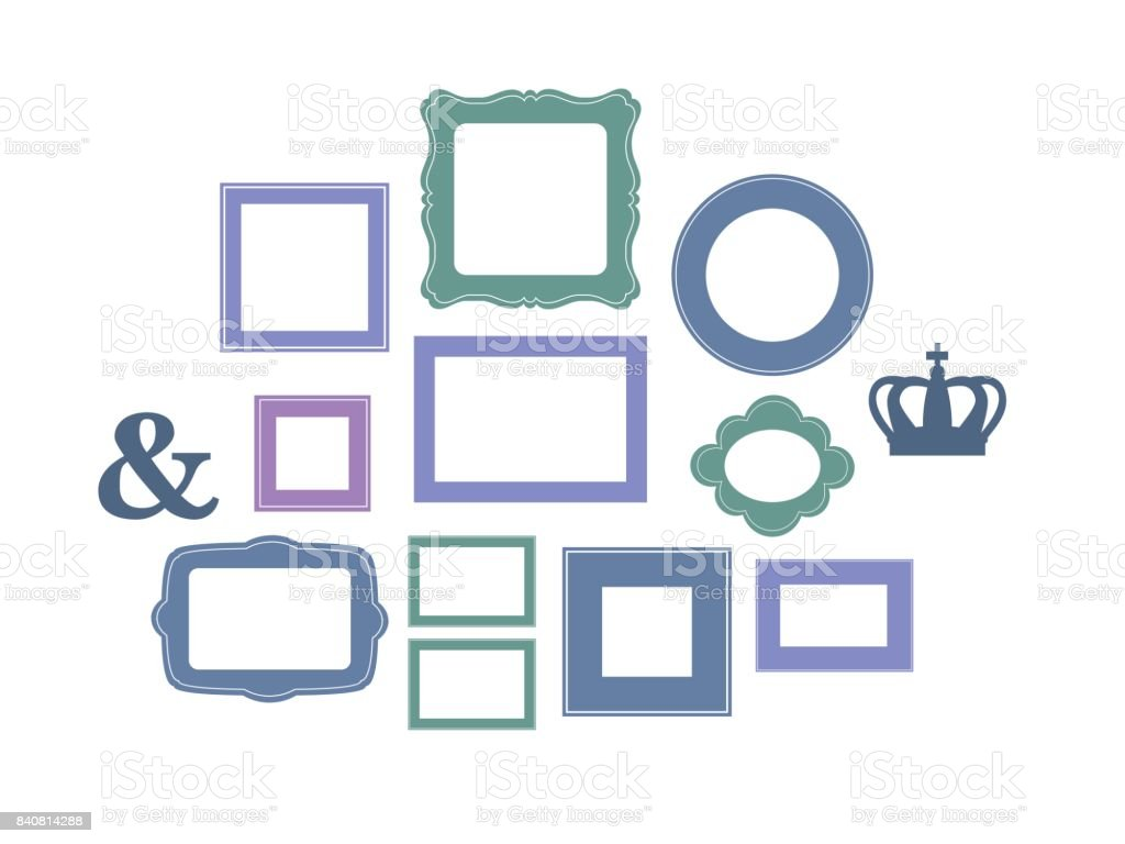 Set Of Cartoon Picture Frames Organized As Gallery Wall Blank ...